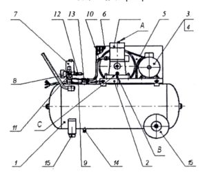 Компрессор воздушный поршневой CATH70-50 (Н70-100)