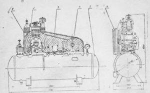 Компрессор воздушный поршневой гаражный ГСВ-0,612 (155-2В5)